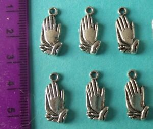 6 Silver alloy First Communion Charms for Crafts Cards Favours Bracelet