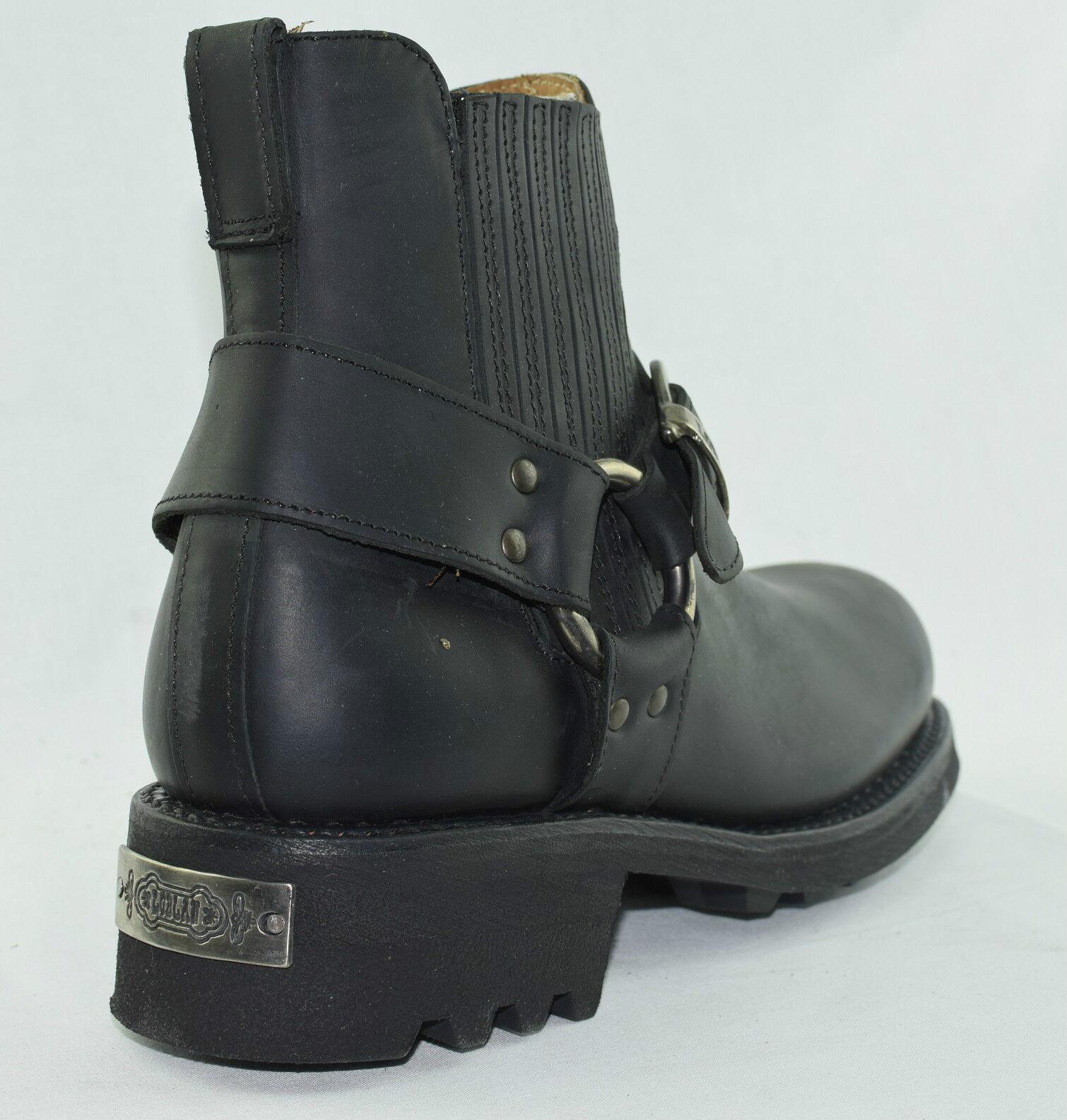 Loblan 611 Black Boots Waxy Leather Men'S Biker Boots Black Classic Round Toe Handmade Bike 1d53ef