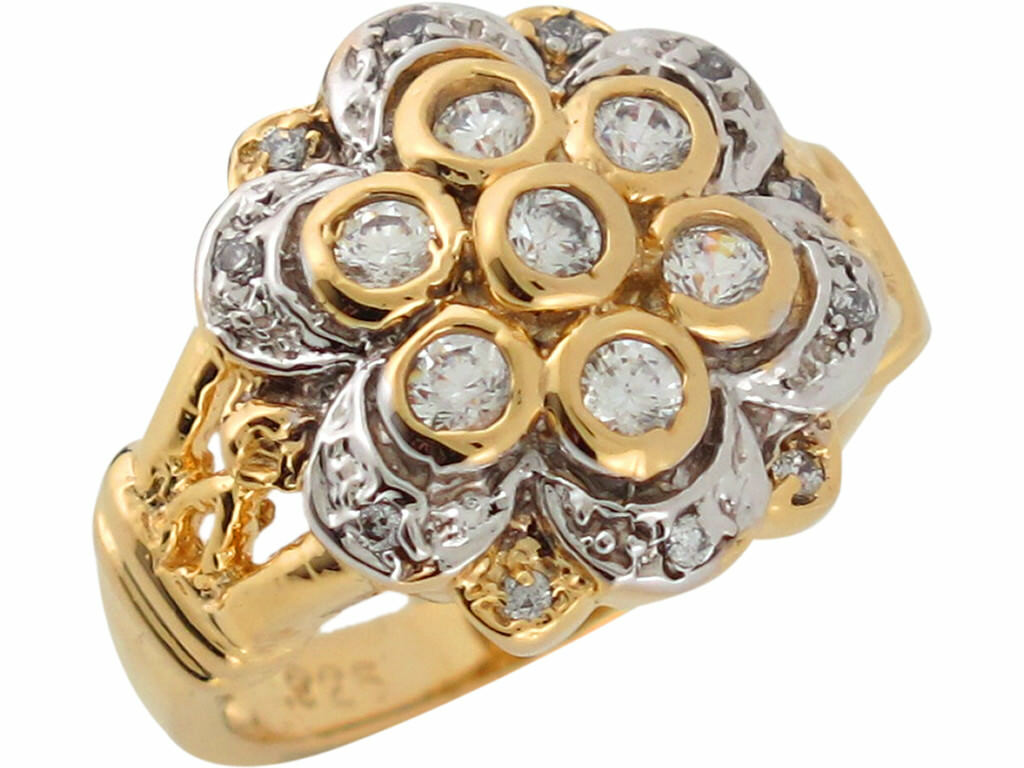10k or 14k Two Tone gold White CZ Exquisite Sparkling Flower Ladies Ring