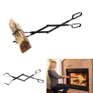 Fireplace Log Grabber Black Tongs Fire Pit Smoke House Boiler Wood Burning Stove
