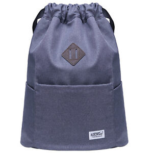 Image is loading KAUKKO-Water-proof-Solid-Color-Drawstring-Backpack-School- cc4c5f4d09