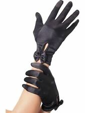 Lady Gaga Poker Face Short Black Satin Gloves With Bow Fancy Dress