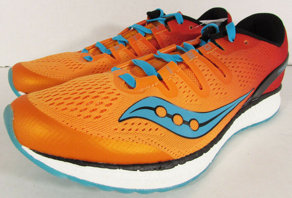 160 Saucony Mens Freedom ISO Running Sneaker shoes, orange Red Teal, US 10.5