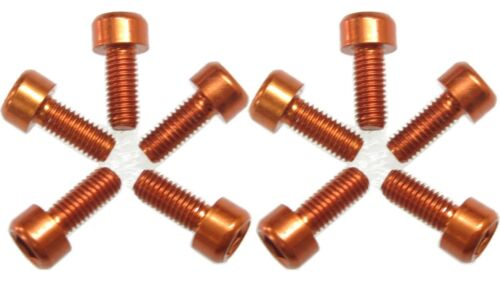 Water Bottle Cage Anodizing M5x12mm Bolts Orange 10pc Set