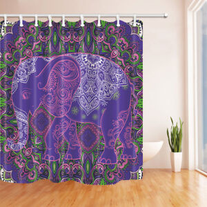 Genial Details About Old Purple India Elephant Bathroom Shower Curtain Fabric  71*71in With Hooks