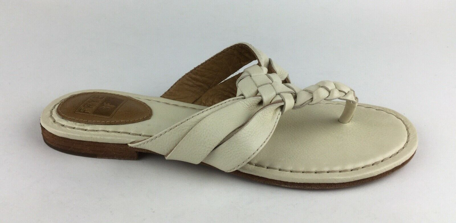Frye Twisted Womens Ivory Leather Flip Flops Sandals Sz US 6