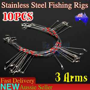 10X-Wire-Trace-Leader-Rig-Stainless-Steel-3-Arm-Fishing-Rigs-Tackle-Lure-Swivel