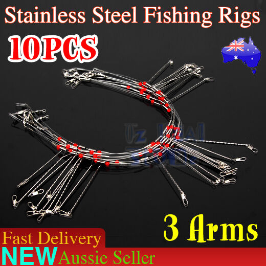 10X Wire Trace Leader Rig Stainless Steel 3 Arm Fishing Rigs Tackle Lure Swivel