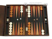 """Zaza & Sacci Leather Backgammon Set - 15"""" Travel Board - Brown Lizard"""