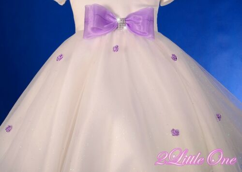 Off-shoulder Flower Girl Dress Wedding Pageant Party Ivory Purple Size 2T-9 277A
