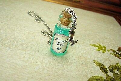 Mermaid Tears Glass Bottle Necklace - Mermaids Cork Vial Charm - Sea Ocean