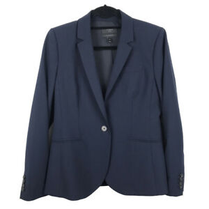 J Crew 1035 Tollegno 1900 Womens Jacket Size 10 Navy Blazer Long Sleeve Wool