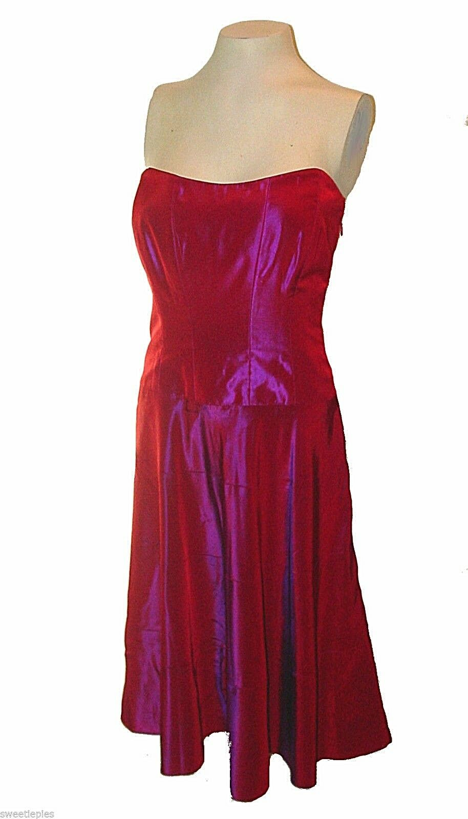 Dress, Nicole Miller New York, Red Iridescent Corset-Top Lace-up ...