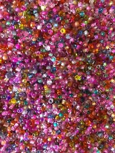 Glass-Seed-beads-2mm-Pink-Multi-Super-colour-mix-25-grm-bag-Multi-uses