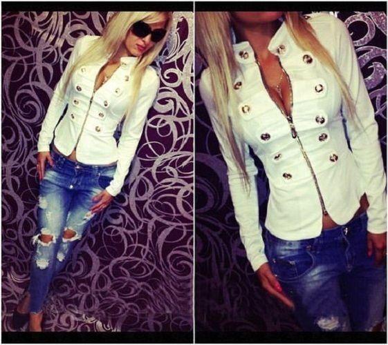 Fashion Women's Casual Tops Jacket Ladies Sexy Button Slim Zipper Up Coat Blazer