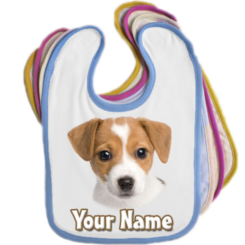 EDGE COLOUR *GREAT BABIES GIFT* JACK RUSSELL PERSONALISED BABY BIB ANY NAME