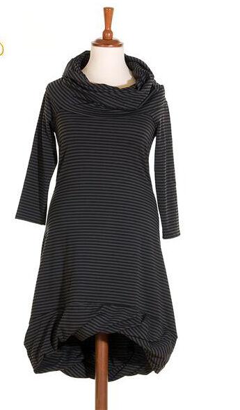 BORIS INDUSTRIES softes Lagenlook Kleid Doubleface gedrehter Saum Streifen 46(4)
