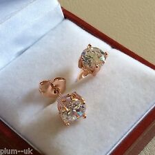 Classic round white sapphire 6.5mm 18k ROSE GOLD gf stud earrings gift boxed