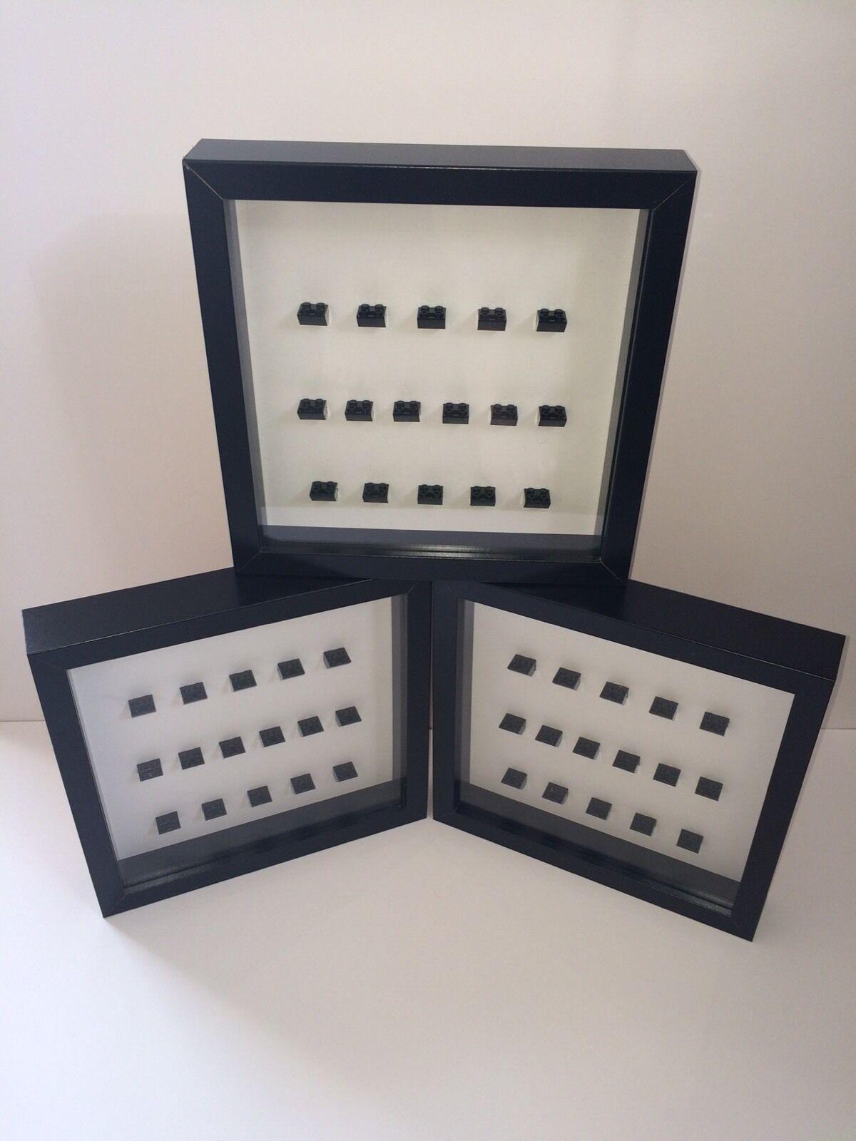 3 X Nero Display Frame per 16 x Lego minifigures.  minifigures sono non incluso