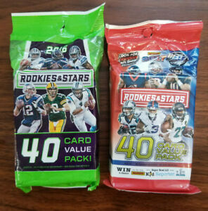 2016 and 2017 Rookies & Stars Football (2)40 card fat pack lot = 80 total cards!