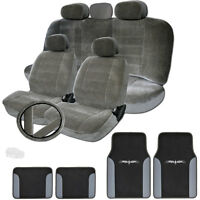 For Jeep Semi Custom Grey Velour Car Seat Steering Covers Vinyl Mats Set