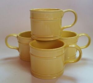 4 Fitz & Floyd Large 18 oz YELLOW Mugs Soup Cups Dallas Texas ...