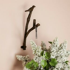 Cast Iron Rustic Metal Bird And Tree Branch Hook For Wall