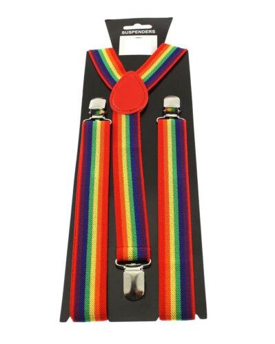 Mens Unisex Plain And Printed Wide Elastic Adjustable Braces Y-Back Suspender