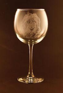 Etched Irish Wolfhound on Large Elegant Wine Glasses New Set of 2