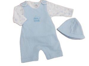 BNWT Baby Boys Tiny Premature Preemie 3 Piece Dungaree 3 Piece Suit Clothes