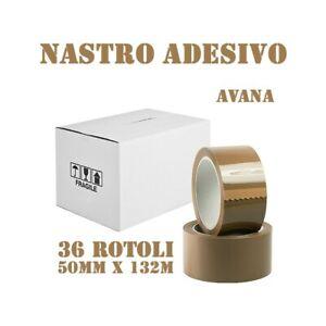 STOCK 36X ROTOLI NASTRO ADESIVO DA IMBALLAGGIO 132MT X 50MM AVANA RUMOROSO-