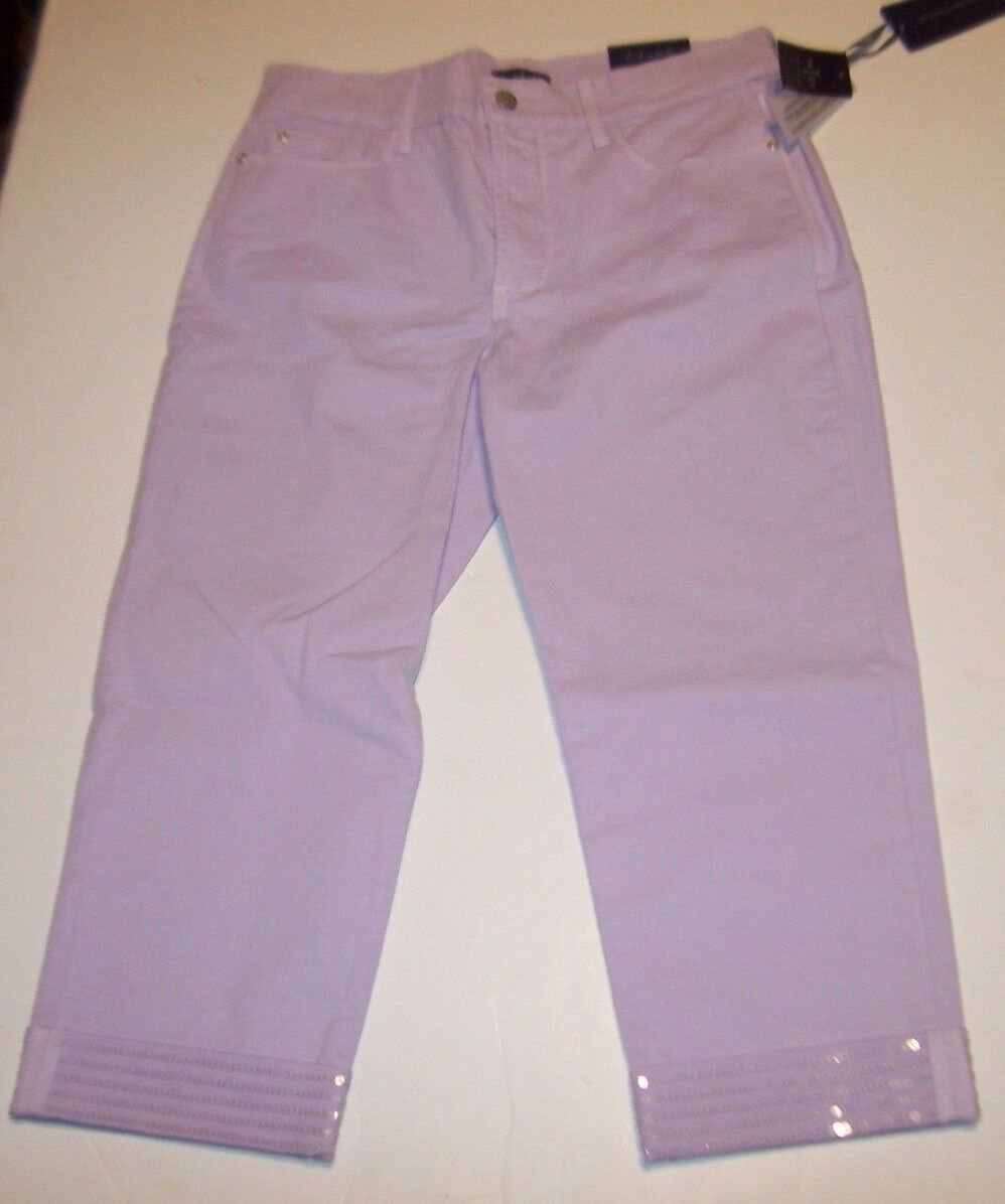 NEW NYDJ Not Your Daughters Jeans CROP capri Ariel sequin cuff purple sz 6