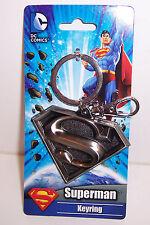 Licensed DC COMICS SUPERMAN LOGO Silver Pewter KEYRING KEY CHAIN Keychain NEW!
