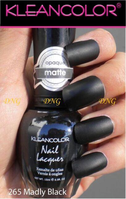 New Kleancolor Nail Polish Lacquer # 265 MADLY BLACK MATTE BLACK art color