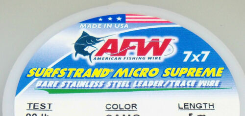 MICRO SUPREME 7X7 MULTI SURFSTRAND LEADER STAINLESS AMERICAN FISHING WIRE