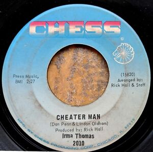 NEW-ORLEANS-R-amp-B-SOUL-45-IRMA-THOMAS-Cheater-Man-Somewhere-Crying-CHESS-2010