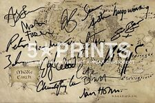 "THE HOBBIT THE LORD OF THE RINGS POSTER PHOTO 12x8"" MAP SIGNED PP BY 14 CAST WOW"
