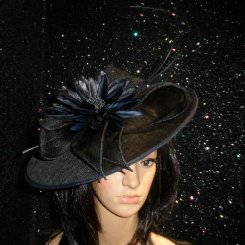 Failsworth Dark Navy Ascot Wedding Fascinator Hat Disque Mère de la mariée afficher le titre d'origine