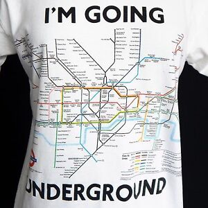 LONDON-UK-SUBWAY-TRAIN-MAP-UNDERGROUND-TUBE-LINE-White-Tee-T-Shirt-Men-039-s-Small