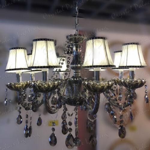 K9 Cristal Lustre Smoky 2//6//8//10//12 bras de lumière pendentif bougie avec abat-jour