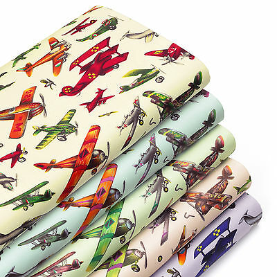 Cotton Fabric per FQ Vintage Aircraft Old Airplane Retro Jet Plane Cartoon VA71