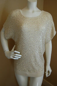 421237b94d HAUTE HIPPIE Knit Silk Cashmere Sequin Batwing Short Sleeve Top~Size ...