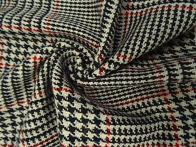 Black, White, Red, Plaid Wool-Blend Coating