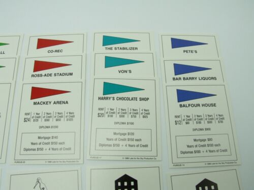 Purdueopoly Deeds Property Cards Replacement Game Parts Complete Set