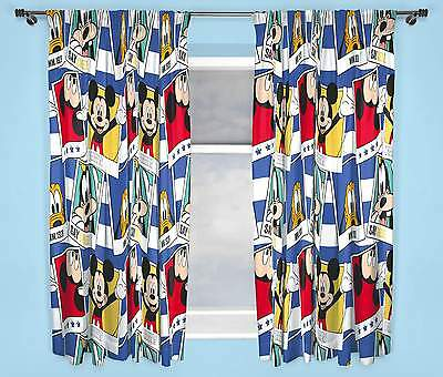 "DISNEY MICKEY MOUSE POLAROID CURTAINS 66"" x 54"" INCH DROP BOYS AND GIRLS"