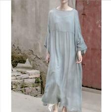 Vintage Loose Caftan Lagenlook Fit Maxi Mulberry New Womens 100% Silk Long Dress