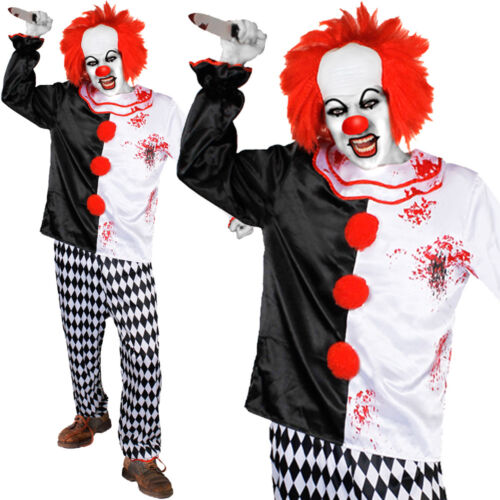 MENS KILLER CLOWN COSTUME EVIL CIRCUS HORROR HALLOWEEN FANCY DRESS OUTFIT