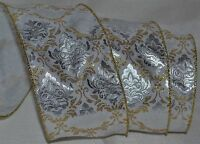 Wired Ribbon3.5christmas Silver Arabesquegoldwhiteholidaywreathgiftbow