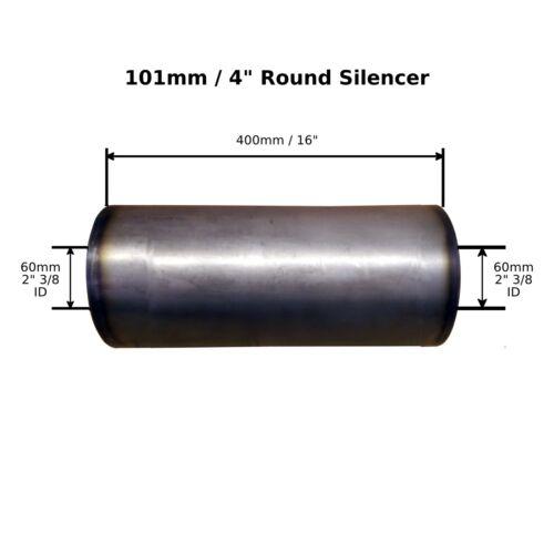 "2/"" 3//8 Bore 60mm 4/"" x 16/"" Weld On Mild Steel  Silencer Exhaust Box Body"