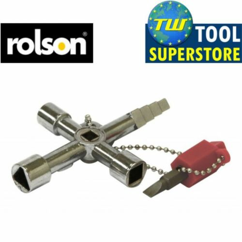 Rolson Plumbers 4 Way Utility Service Utili Key with Screwdriver Bit Chain